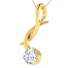 New Design 18kt Solid Yellow Gold Single Diamond Pendant For Women