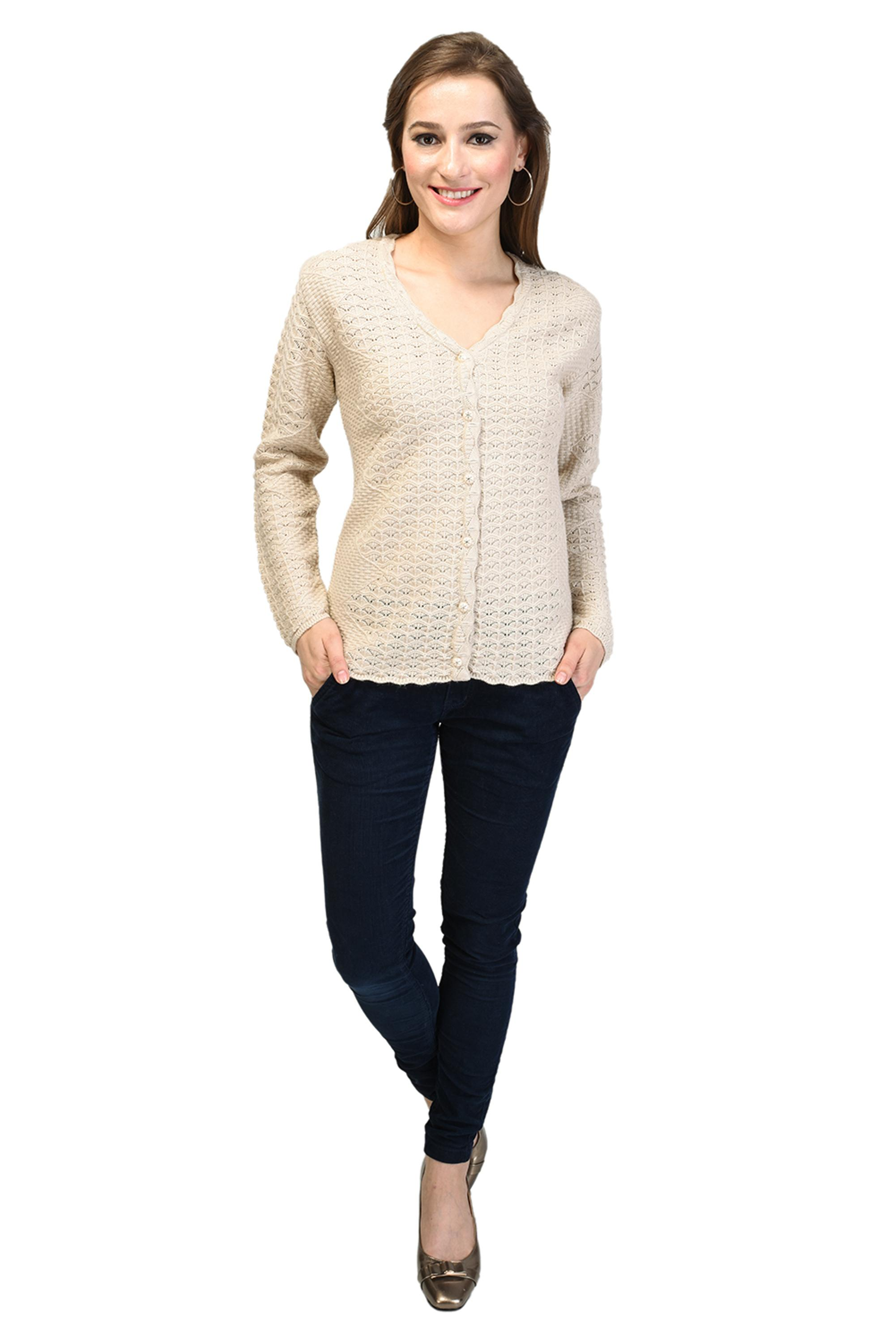 Good Quality Ladies Sweater Cardigan-1502 light faun colour