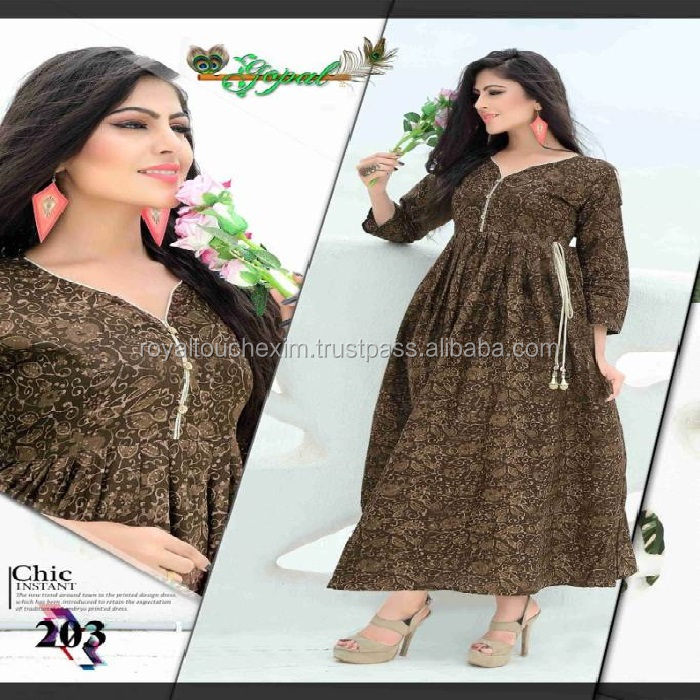 gown style kurti boat neck new design ladies stylish long manufacturer kurti tops