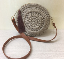 High quality crochet yarn bag with leather handle and tassel