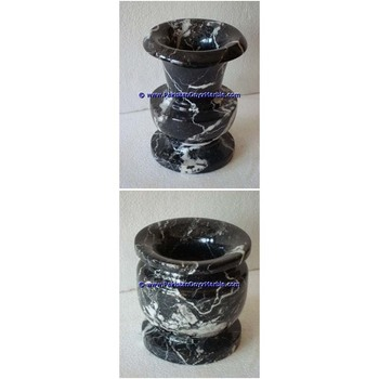 High Quality cheap price marble vases black zebra marble handcrafted natural stone flower vases planters pots