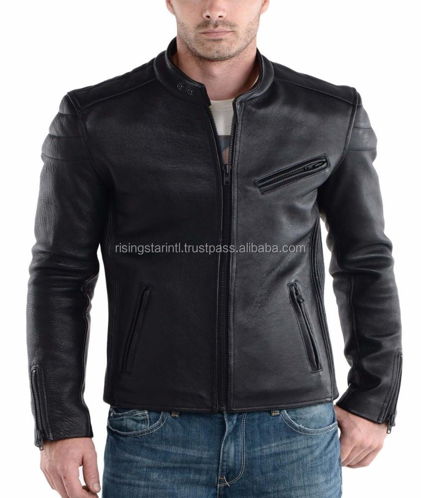 Custom Gentelman winter jacket with real leather