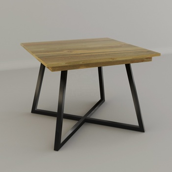 Teak Iron Solid wood dining table