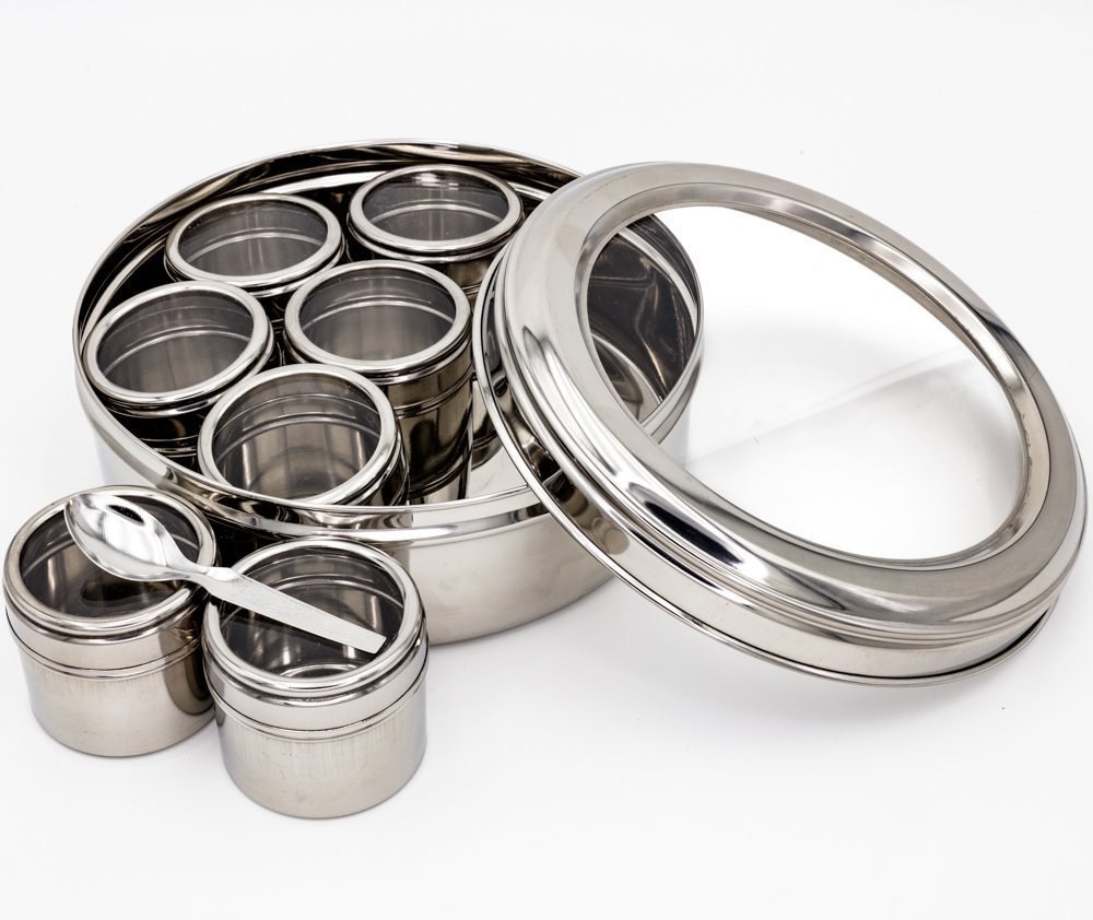 Stainless steel spice box/ see thru spice box / Masala dabba