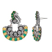Oxidised Gold & Silver Plated Green Collared Glass Stone Peacock Style Hoop Earrings Jewellery