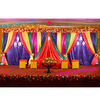Muslim Mehandi Stage Backdrop Curtains Decoration, Stunning Criss-Cross Style Backdrop Curtains, Indian Wedding Mandap Backdrop
