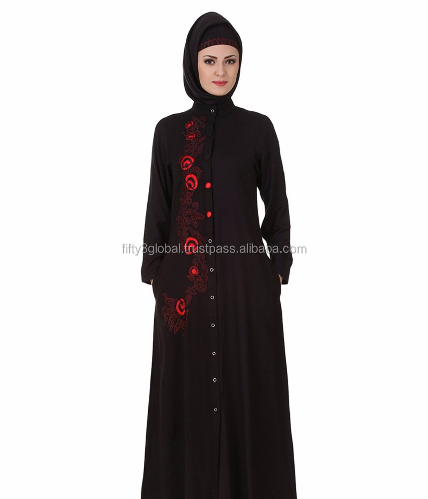 Rayon Black Abaya Unique Designs With Flower Fancy Red Hand Work Abaya Women