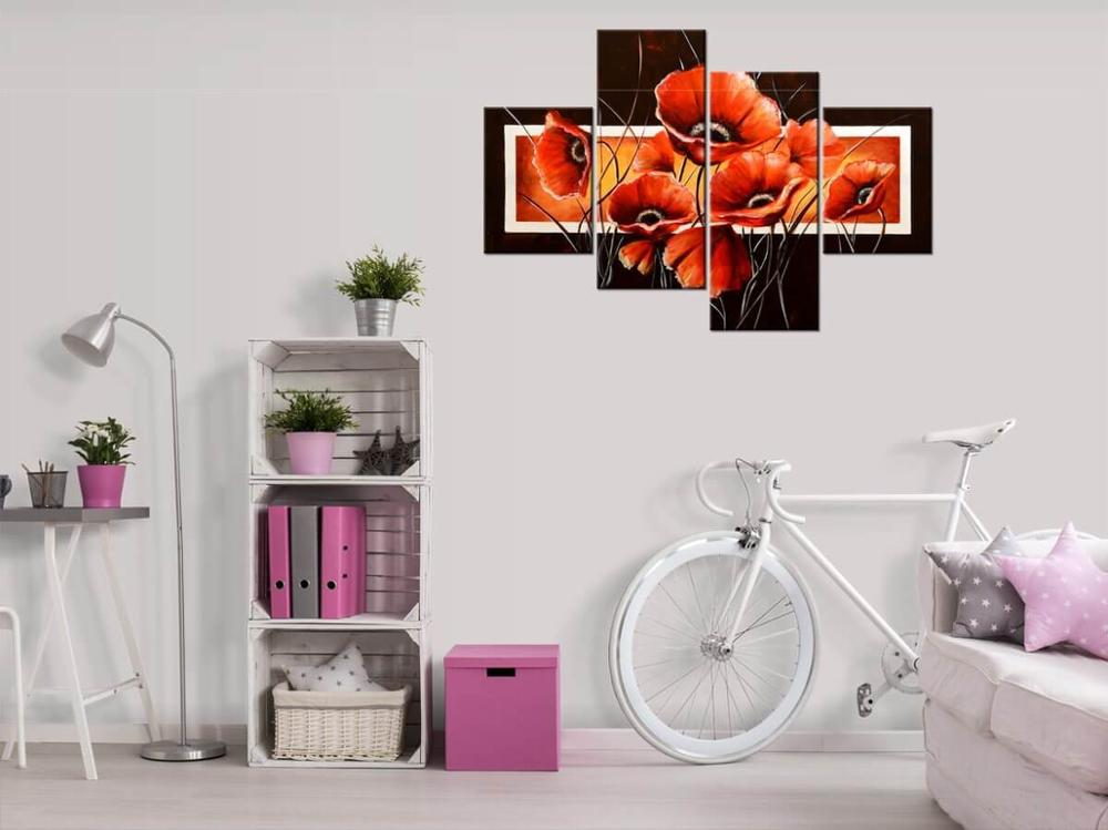Modern image Power poppy printed on canvas wooden loom 120x80cm Manufacturer Home & Office Decoration