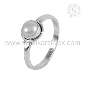 Superb pearl silver ring handmade jewelry 925 sterling silver rings wholesale jewellery supplier
