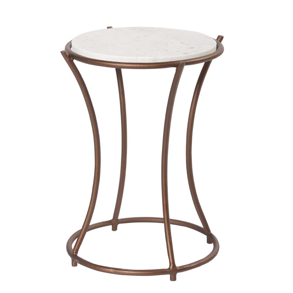 Handicraft Marble Top Ring Accent Iron Table with Bronze finish