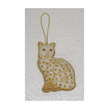 Hand Embroidered Cat Christmas Decoration Hanging