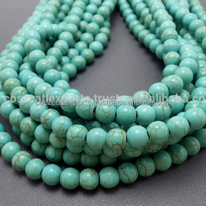 Turquoise Gemstone Howlite Smooth Beads 8 MM Stone Jewelry