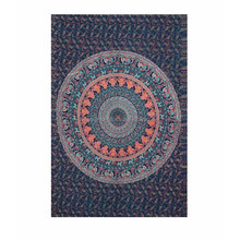 Indian hand made Circular Mandala Hippie Indian Traditional Throw Beach Wall Art Dorm Bohemian Blue Color Tapestry