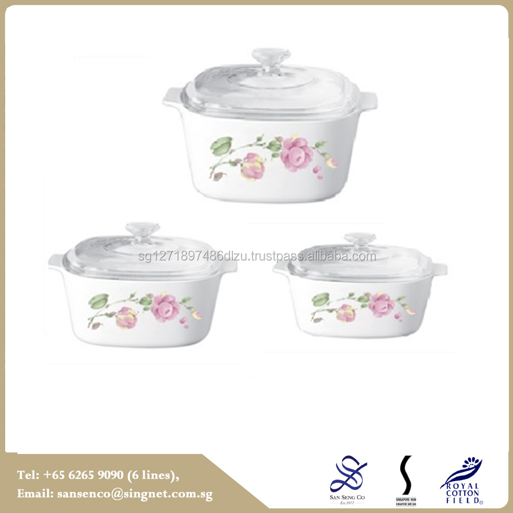 Factory Price stainless steel 6pcs country rose Cookware casserole set