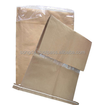 Open mouth pp woven laminated brown kraft paper bag with PE liner