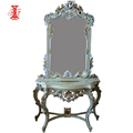 Luxury Antique Dressing Table with Mirror and white gold Leaf Finishing - Dresser Parts Furniture