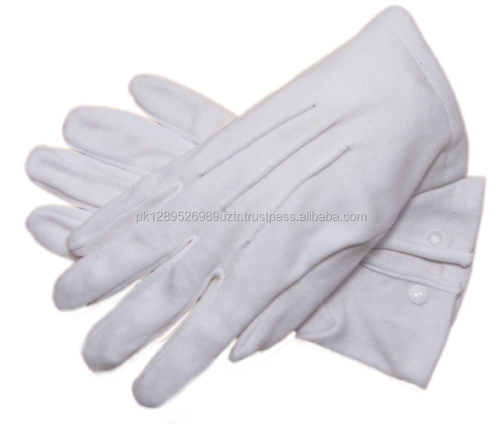 Daily Use Plain Style 100% White Cotton Glove,