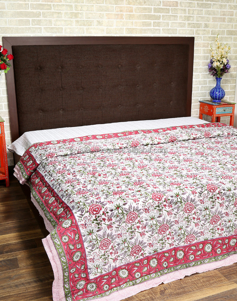 Designer Hand Printed Floral Cotton White And Red Quilt For Sale