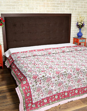 Floral Hand Block Printed Cotton Double Bed Linen Indoor And Beach Winter Warmer Quilt