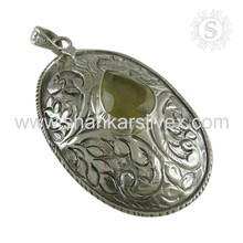 Glazed prehnite gemstone silver pendant 925 sterling silver jewelry wholesaler