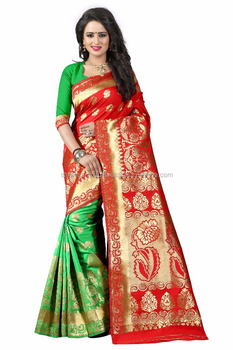 Women's Embellished Woven Art Silk Red & Green Designer Saree for Women, Suit in Every Occasion