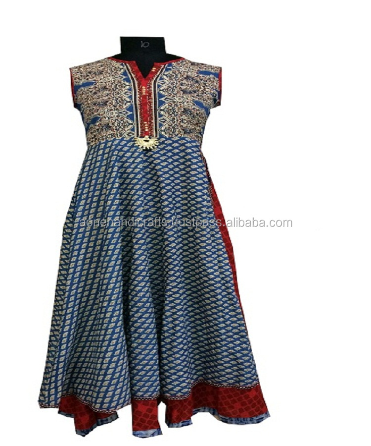 Cotton Blue & Red Printed Stitched Double Layer Kurti