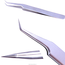 Volume Lashes 45 degree Tweezers Professional Eyelash Extensions Tweezers Tool with case Stainless Steel Curved Precision