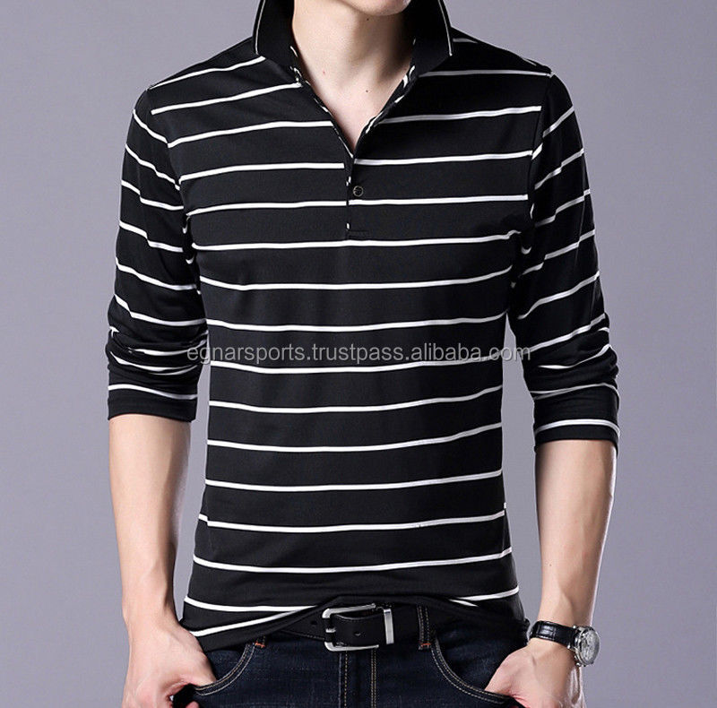 Wholesale Unique Men Stylish Long Sleeve Striped Shirt V-neck Casual Slim Fit Polo T Shirt