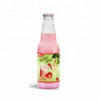 Natural Fruit Juice Soya Milk Strawberry Flavour Glass Bottle OEM milk series