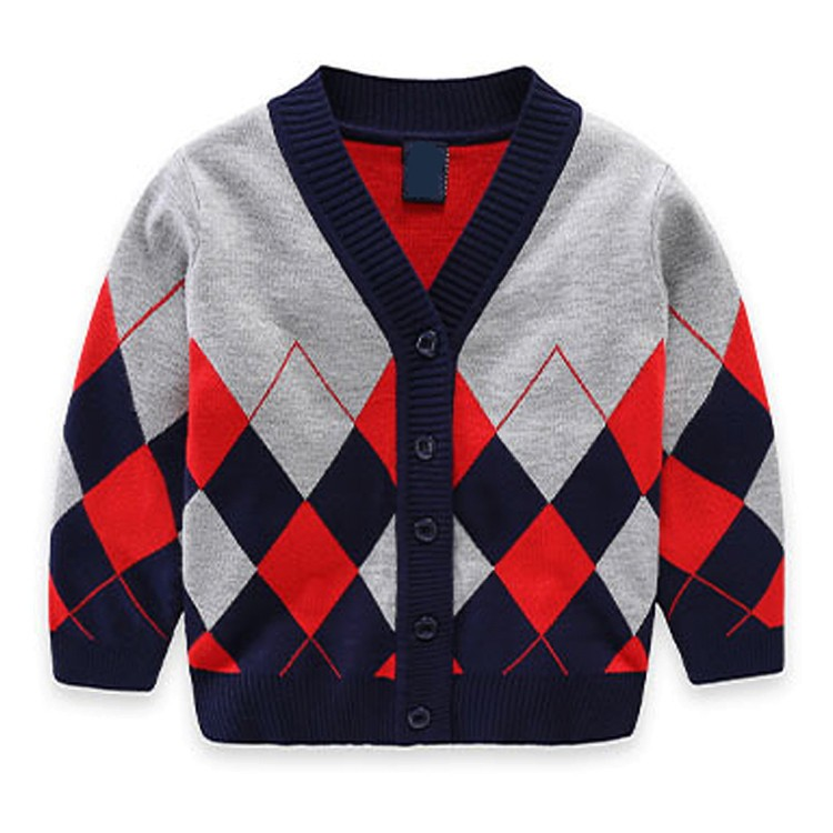 Yarn dyed daimond stitch exclusive design 100% cotton boys sweater