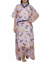 Beautiful printed casual maxi loose fit dress with belt
