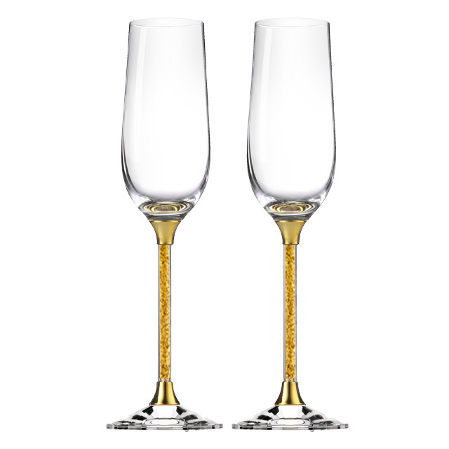 Gold Fancy Champagne Glass Welcome Custom Logo Champagne Flutes Wedding Gift