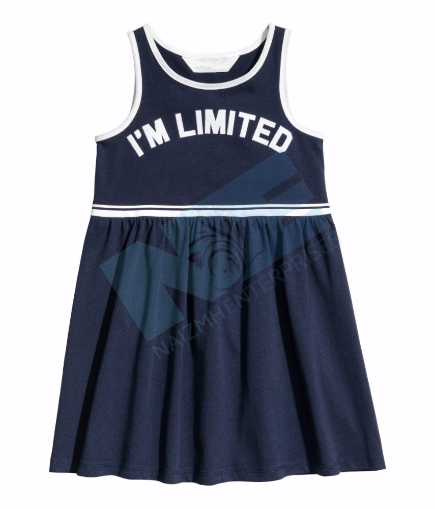 100% Cotton Knitted Girls Jersey elsa Dress in Frock Style Latest 2017 Uniform Style With Custom Print OEM
