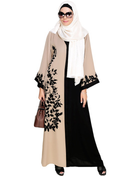 Wanderlust Beige & Black Embroidery Abaya Dubai Muslim Dress