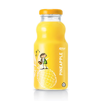 250ml Glass bottle 100% Natural Pineapple Fruit Drink