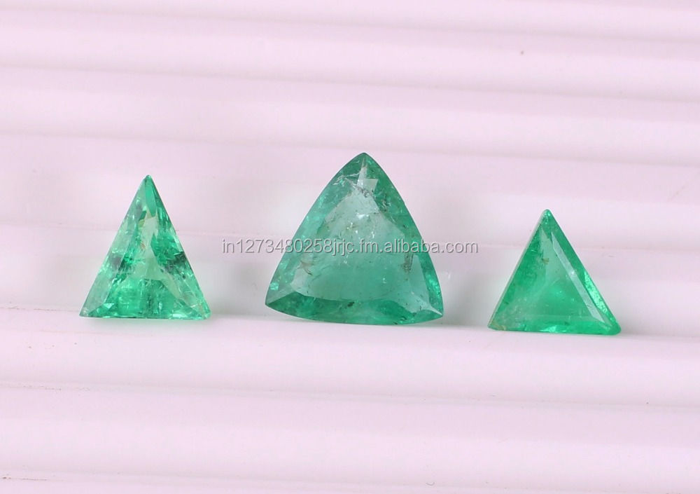 Natural Russian Emerald Trillion Shape Faceted Emerald Loose Gemstone