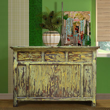 Buffet Console Oriental Rustic Painted Mahogany Wood Furniture