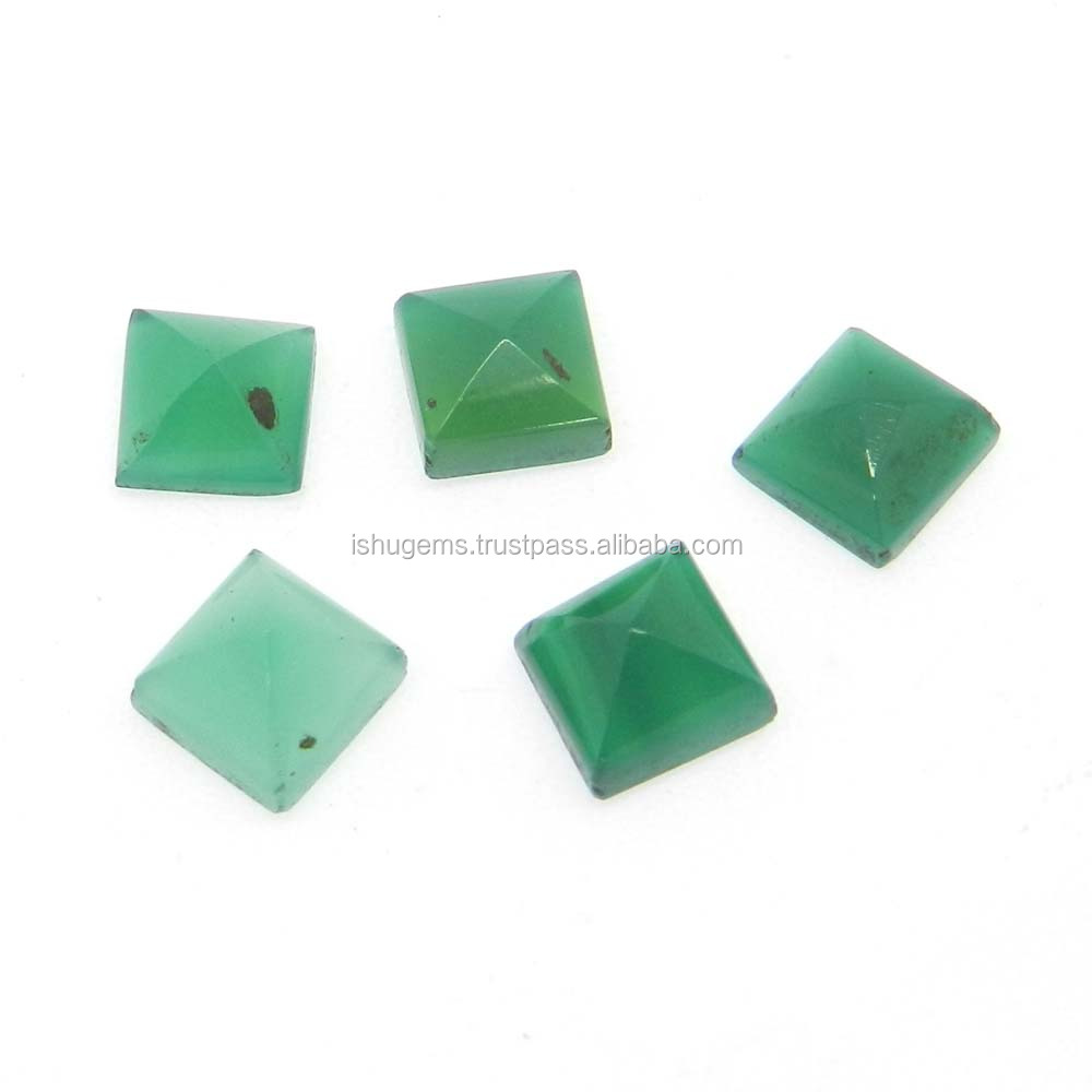 Green onyx semi precious 7x7mm Square Pyramid cut 1.89 cts loose gemstone for jewelry