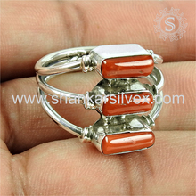 Crazy designer hot silver ring coral gemstone jewelry wholesaler 925 sterling handmade jewellery silver rings