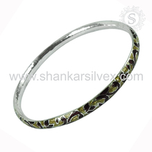 Beautiful silver bangle handmade enamel jewelry gemstone 925 sterling silver wholesale jewellery supplier silver bangles