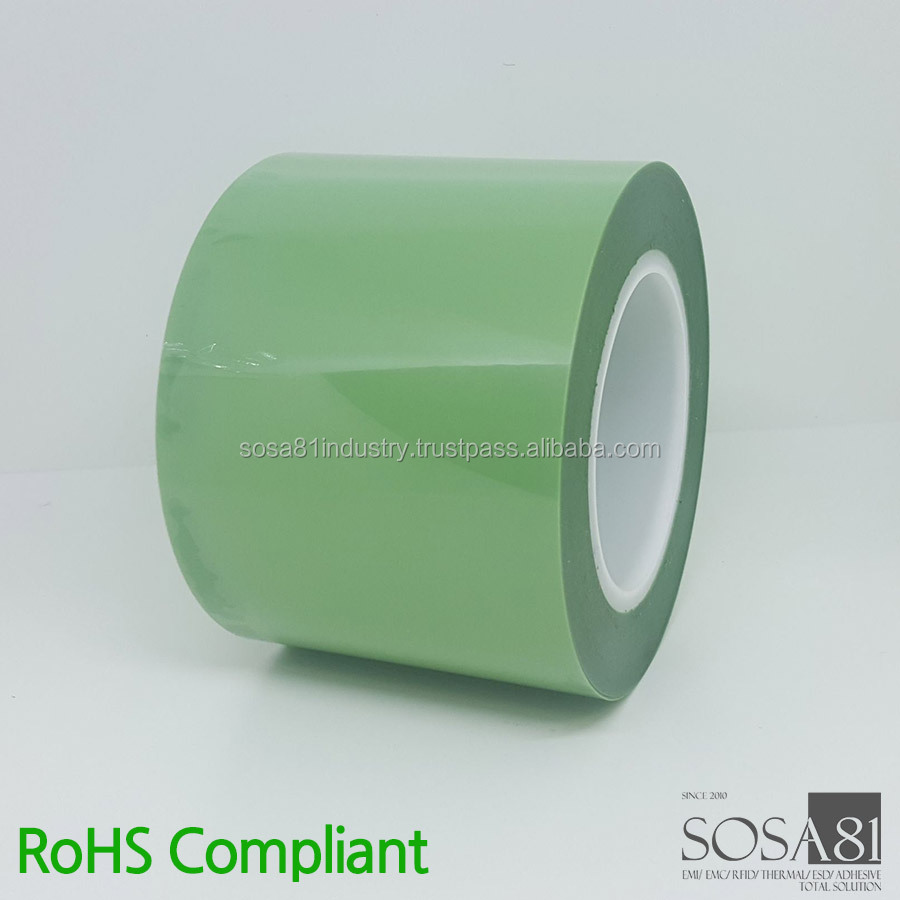 Green PET masking adhesive tape with silicone adhesive