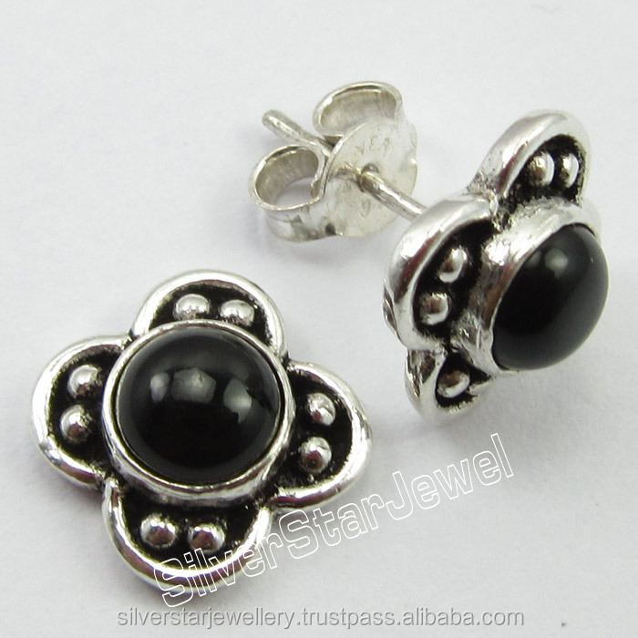 Fashion Vintage Look Shopping Jewelry Lot 925 Pure Silver BLACK ONYX Gemset DESIGNER Post Earrings 1.5 CM BIRTHDAY PRESENT