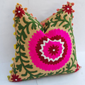 Vintage suzani cushion embroidered indian pillow cover