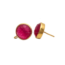Dyed Ruby Fancy Stud Earing Gold Plated Dyed Ruby Round Bezel Set Dangle Earring