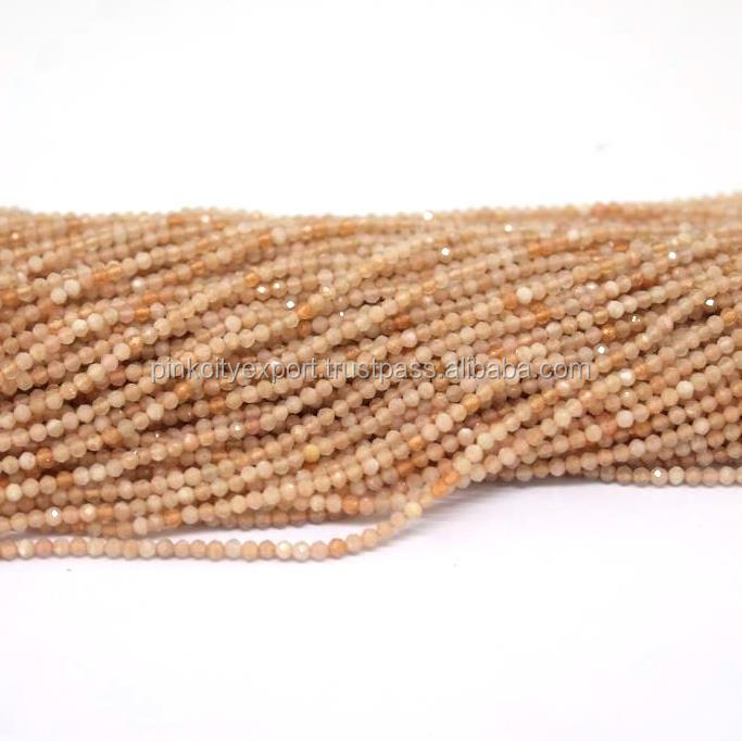 "14"" STRAND SUPERB QUALITY Peach Moonstone Gemstones Faceted 3 mm Round Beads"