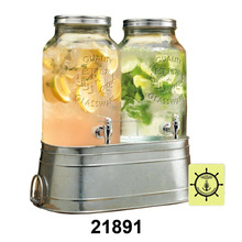 Twin Ice Cold Drink Dispenser With Galvanized Stand / Bucket And Metal Lid
