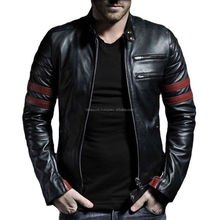 MEN GENUINE SHEEP LEATHER BLACK SLIM FIT BIKER STYLE JACKET / Bet quality by taidoc intl