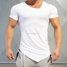 Gym Mens Front Flank Solid Color T Shirts Fitness Athletic Muscle-fit Casual Tee IM.3396