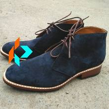DISC.20% YEAR END SALE Super Top Quality Men Genuine Leather Dark Blue Chukka Boots Customized Color Handmade
