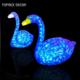 Marriage decoration handcrafted Artificial lighted outdoor led lighting for home glass swan